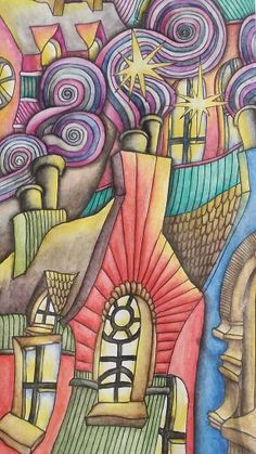 Close up picture of the Chimneys and Rooftops page of the Magical City adult coloring book. Colored with inktense pencils and activated with a waterbrush by Dayna Brown. 4-5-2015