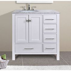 "Stufurhome Bathroom Vanities 36 inch bathroom vanity with offset sink - virtu usa 36"" square"