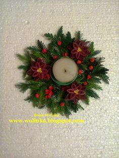 RĘKODZIEŁO  WOLINKI -  MOJA PASJA - MOJE HOBBY: Świąteczny stroik- świecznik