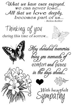 Sympathy Sentiments Clear Stamp Set. Create handmade sympathy cards with this stamp set...Includes butterfly stamps and heartfelt sympathy sentiments...