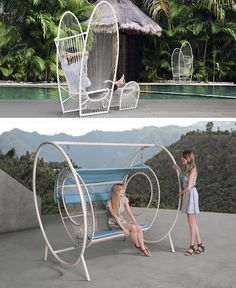 12 Outdoor Furniture Designs That Add A Sculptural Element To Your Backyard // Nylon cords wrapped around a powder-coated steel frame give the PAPILLON chair a unique look and provide ultimate comfort.