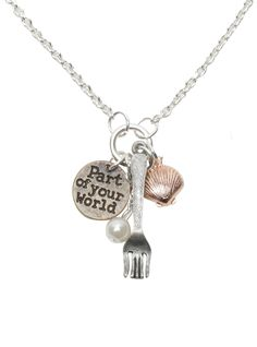 Disney The Little Mermaid Fork Shell Charm Necklace | Hot Topic
