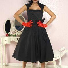 Die Sixties sind hipp! Sehr hochwertiges Kleid im Rockabilly-Style, mit Kragen und angenähter Schleife vorne. Es hat seitlich...