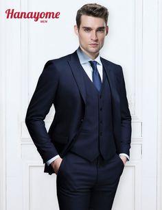 Dark Blue Suits 3pcs Sets Wedding Tuxedos Men's 3 Pieces New Fashion Wedding Event Blazer Suit Vest & Trousers Vest Pants U111 #Affiliate
