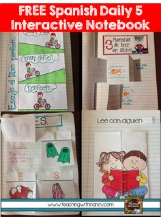 FREE Spanish Daily 5 Interactive Notebook Templates