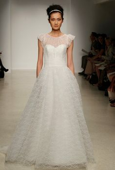 Beautiful embroidered tulle Christos Bridal  wedding Dress with the cutest  little sleeves. One of 6044b4f9651