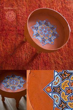 Tradycyjny Marokański Stolik z Dużym Rantem - Orange   319 zł  / 45 x 45 cm