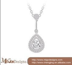 migodesigns newest white gold plated Austria AAA CZ diamond women necklaces&pendants 2014