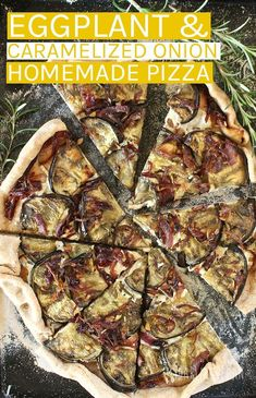 Aubergine and Caramelized Onion Pizza (Vegan recipe) Vegan Pizza Recipe, Vegan Dinner Recipes, Vegan Dinners, Veggie Recipes, Whole Food Recipes, Vegetarian Recipes, Cooking Recipes, Vegan Eggplant Recipes, Dinner Healthy