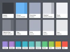 The color palette I worked on for Guest Center on the iPad.