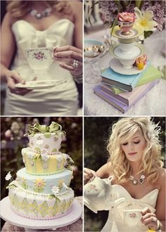 ~Alice in Wonderland Wedding~ love everything but her dress and the cake. Why does everyone think of Alice and tea in the same breath? Tea Party Wedding, Dream Wedding, Wedding Cakes, Brunch Wedding, Wedding Vendors, Wedding Things, Wedding Hair, Alice In Wonderland Wedding Cake, Wonderland Alice