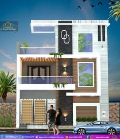 22 ft modern elevation – Home decoration ideas and garde ideas House Front Wall Design, Bungalow House Design, Small House Design, House Elevation, Front Elevation Designs, Building Elevation, West Facing House, Model House Plan, House Design Pictures