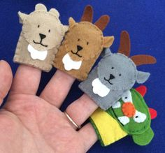 Set of felt finger puppets to work alongside the traditional story of the 3 billy goats gruff. All are hand stitched with double thickness for strength to comply with CE regulations. Felt Puppets, Felt Finger Puppets, Finger Puppet Patterns, Billy Goats Gruff, Traditional Tales, Felt Patterns, Fleece Patterns, Felt Quiet Books, Nursery Rhymes