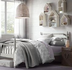 undefined Spindle Bed, House Shelves, House Wall, Wall Shelves, Bedroom Shelves, Restoration Hardware Baby, Full Headboard, Inspiration Design, Little Girl Rooms