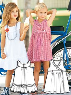 Gingham Girls: 9 New Patterns – Sewing Blog | BurdaStyle.com; notice the white tunic trimmed with bias strips