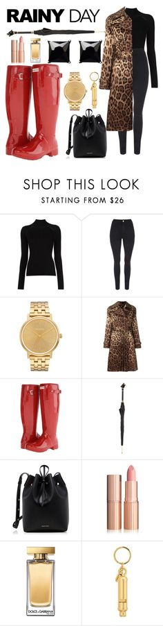 """""""Rainy Day"""" by sunnyblite ❤ liked on Polyvore featuring Misha Nonoo, Nixon, Dolce&Gabbana, Hunter, Pasotti Ombrelli, Mansur Gavriel, Sophie Hulme and Witchery"""