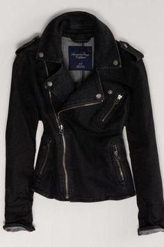 AEO Women's Denim Moto Jacket (Black)