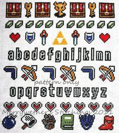 Legend of Zelda - Band Sampler Cross Stitch PATTERN. $5.00, via Etsy.