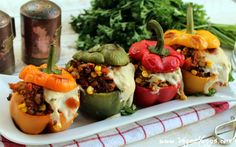 <p>These colorful stuffed peppers are a must-try for all! They're filled with savory sautéed vegetables like mushrooms and carrots, as well as protein-rich quinoa and black-eyed peas that'll keep you full.</p>