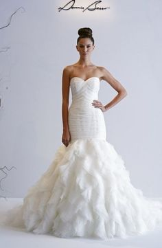 Bridal Gowns: Dennis Basso Mermaid Wedding Dress with Sweetheart Neckline and Dropped Waist Waistline