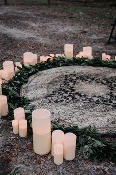 Ivory & Beau Couple: Caitlin & Timothy — Ivory & Beau Moody wedding at Wormsloe with rug and ceremony circle Wiccan Wedding, Viking Wedding, Gothic Wedding, Forest Wedding, Diy Wedding, Wedding Ceremony, Wedding Flowers, Dream Wedding, Wedding Ideas