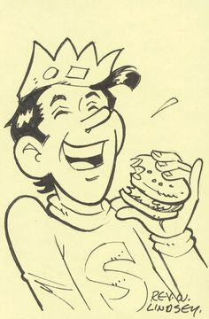"REX W. LINDSEY Original 4x6 b/w ink drawing by Archie artist Rex W. Lindsey of Jughead chowing down on a hamburger Original ink drawing signed ""Rex W./Lindsey"". 4x6 card. A graduate of the Joe Kubert School of Cartooning and Graphic Arts, Lindsey is one of the main artists behind many Archie comic book titles. He worked on DC Comics titles like Sgt. Rock and Pacific Comics titles like First Folio, Edge of Chaos and Vanguard Illustrated in the 1980s before signing on at Archie Publications."