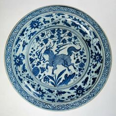 Dish with qilin, 1350, Yuan dynasty.Unknown artist potter, porcelain, decorated in underglaze blue.