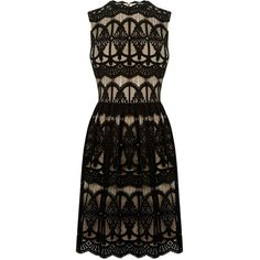 Oasis Deco Lace Dress (€54) ❤ liked on Polyvore featuring dresses, black, women, holiday shift dresses, cocktail dresses, lace dress, art deco dress and lining dress