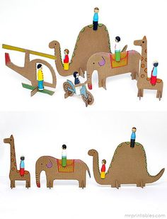 How to make Peg Dolls from wooden clothespins, plus free printables for the cardboard animals and vehicles