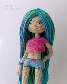Amigurumi doll by Yulia, happy dollmaker✌ . Amigurumi Patterns, Amigurumi Doll, Doll Patterns, Knitted Dolls, Crochet Dolls, Crochet Hats, Crochet Doll Pattern, Crochet Mermaid, Cool Ideas