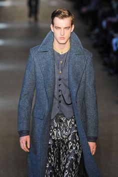 check out the rich hues of blue in this look. loving the long coat and vest but I def could never pull off the pants :) love Rag and Bone!