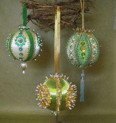 handmade  christmas balls | VINTAGE Handmade Christmas Ornaments Kitschy Heavy Beaded Ribbon ...