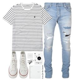 """""""Go for it"""" by alexandra-provenzano ❤ liked on Polyvore featuring Balmain, Ralph Lauren, Converse, Lomography, men's fashion and menswear"""