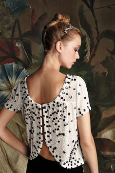 I love this back. Gorgeous. I might need to become fancy just to wear this. Beaded Composition Top - anthropologie.com