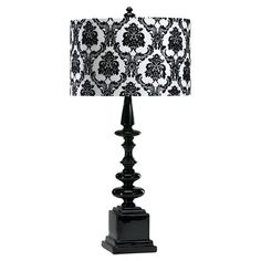 Ceramic+table+lamp+with+a+gloss+black+finish+and+damask-patterned+shade.  +  Product:+Table+lampConstruction+Material:+