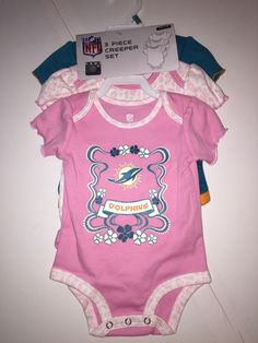 Miami Dolphin Three-Piece Creeper Set 3 Months NFL Football Girls NWT #MiamiDolphins