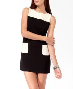 Colorblocked Shift Dress (Black/Cream). Forever 21. $24.80