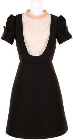 VALENTINO Black Dress in Cotton and Silk