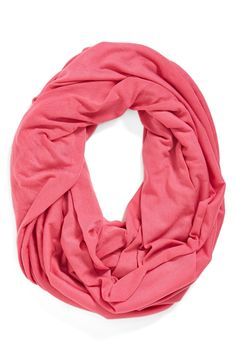Super soft and ultra light pink infinity scarf.