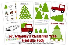 Willowby's Christmas Tree Printable Pack - Free Christmas Printables: Mr. Willowby's Christmas Tree Printable Pack from Homeschool Creation - Christmas Tree Printable, Real Christmas Tree, Preschool Christmas, Free Christmas Printables, Christmas Books, Christmas Activities, Christmas Themes, Christmas Holidays, Activities For Kids