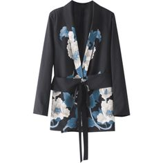 Metallic Ring Floral Belted Blazer (£22) ❤ liked on Polyvore featuring outerwear, jackets, blazers, floral blazer jacket, flower print jacket, belted blazer, metallic jacket and floral print blazer