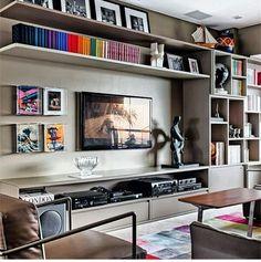 Living Room Tv, Home And Living, Small Living, Modern Living, Living Room Shelves, Minimalist Living, Muebles Living, Tv Wall Decor, House Design