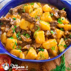 A stew like no other! This Ukrainian braised beef and potatoes stew is so aromatic and delicious! Made with braised beef and garlic onion tomato sauce. Recipes With Hamburger And Potatoes, Beef And Potato Stew, Beef And Potatoes, Stewed Potatoes, Lamb Recipes, Meat Recipes, Dinner Recipes, Cooking Recipes, Oven Recipes