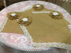 Burlap and Lace Placemats with Large Burlap by ShellsVintageCharm