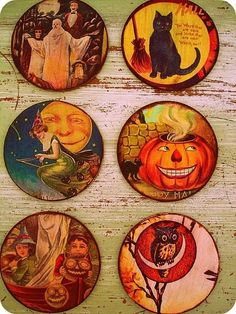 Vintage halloween coasters... I LOVE vintage! The hardest part would be finding the images...