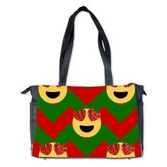 christmas heart eye emoji Diaper Bag