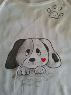 Hand-painted T-shirts  Hand-painted T-shirts dog  by AxiKedi