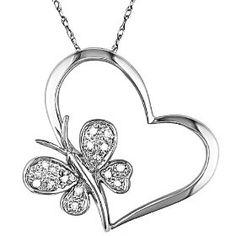 10K White Gold .06 ctw Diamond Heart and Butterfly Pendant, (necklace, heart pendant, jewelry, heart, pendant, love, diamond, jewlery, cute, gold jewelry), via https://myamzn.heroku.com/go/B001MSLPZS/10K-White-Gold-06-ctw-Diamond-Heart-and-Butterfly-Pendant