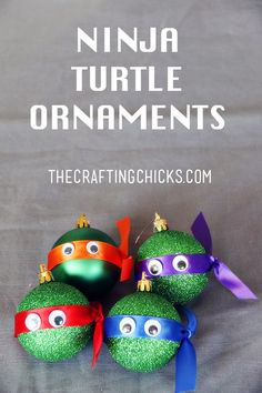 Too cute. DIY Ninja Turtle Ornaments on www.thecraftingchicks.com
