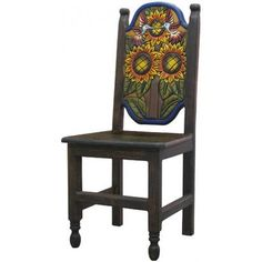 This exquisitely hand-carved and hand-painted Sunflower Chair was built with pride by the renowned Perla furniture studio of Michoacan, Mexico. Imagine sitting down to a scrumptious south-of-the-border meal with your family and friends in these eye-catching chairs! A striking and colorful addition to your home decor, they're the perfect way to embrace your own Mexican or Southwestern spirit, and to bring out the interior decorator in all of us!